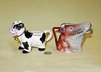 Wisconsin and Harbor Springs souvenir cow creamers