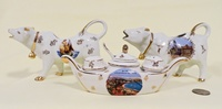 Sailboat and Lille souvenir cow creamers, mustard boat for Nice