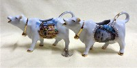 Honfleur and Domremy souvenir cow creamers