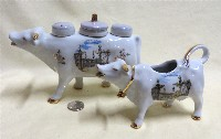 Souvenir cow creamer and cow mustard holder from Nancy