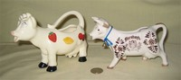 Jello cow creamer by Sebastian, and Hershey advertising cow creamer
