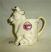 Pearl China yellow cow pitcher, souvenir of Pike's Peak