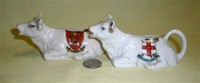 Jersey and City of York crested cow creamers