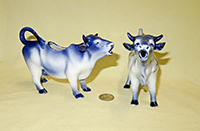 2 Delft cow creamers from my favorite mold, right