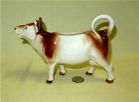 Goebel brown and white cow creamer marked for US zone of Germany, side
