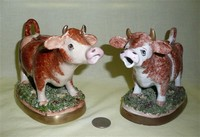 Eximous of London and Royale Stratford cow creamers, front