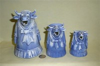 Three sizes of S&V blue lady in a dress cow creamers