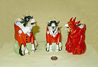 2 S&V Goats in red coats and a full red goat creamer