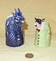 S&V Goat in green coat and a blue goat creamer