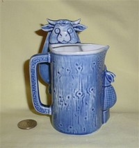 Blue S&V pitcher of cow caricature being milked, front
