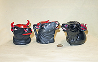 3 black and red Royal Bayreuth cow head creamers