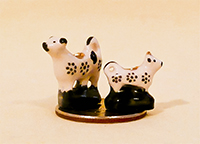V&R dollhouse cow creamers with blue dots