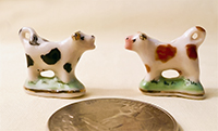 2 British porcelain miniature cow creamers