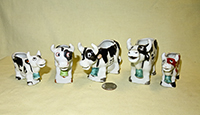 Multicolored 2 leg Japanese cow creamers