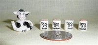Miniature cow teapot and spice jars