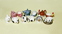 Animal teapot and cup feves