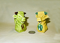 Green & yellow square faced cow head creamers