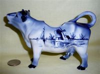 German cow creamer from one of my favorite molds, with Delft decorations, side