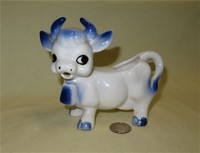 Blue & white 'cute' cow creamer