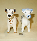 Holley Ross and Erwin Pottery cow creamers, front