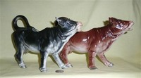 Black and reddish brown large realistic German porcelain cow creamers