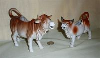 Two German brown and white cow creamers
