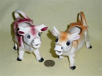 2 small Japanese brown and white cow creamers