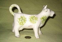 Eve Taylor white cow creamer with green flowers