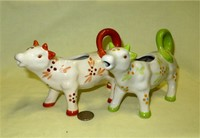 Two 'Old World Pattern' cow creamers by Temptations