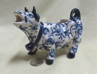 Portuguese cow creamer with blue flowers
