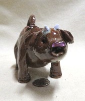 Brown cow caricature creamer by HandmadeHoillows, front