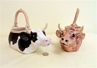 Two cow creamers by Christy Crews Dunn