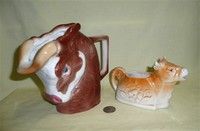 Czechoslovakian bull pitcher and cow creamer
