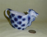 Small basket-weave blue and white legless porcelain cow creamer