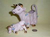 Purple cow creamer with calf