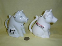 Two sitting up Australian white cow creamers