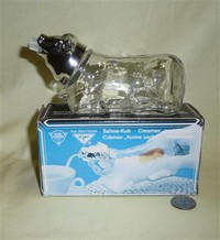 Western Germany glass cow creamer with metal head