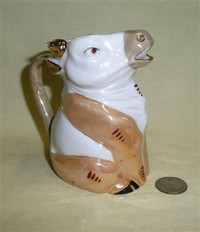German brown and white lustre glaze flat topped cow creamer