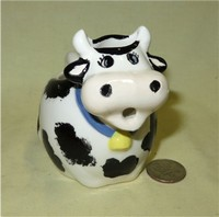 LL Bell caricature small black and white cow creamer