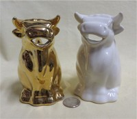 Gold and White sitting bull creamers from Coventry