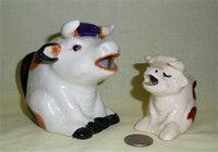 Two pre-WWII sitting bull creamers from Japan