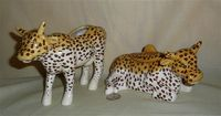 Cow Parade 'Leopard' creamer and sugar