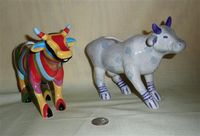 Cow Parade 'Striped Cow' and 'China Cow' creamers