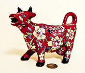 Red French cow creamer with cloisonne flowers