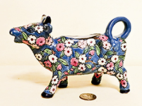 Blue French cow creamer with cloisonne flowers