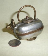 Small Taiwanese brass and pewter cow vessel with lid