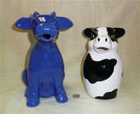 Blue and Black & White cow pitchers