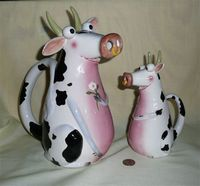 Bee Happy by Claire Mackie cow caricature pitcher and creamer