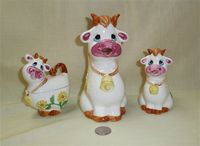 Japanese caricature Cow pitcher, creamer and sugar
