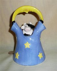 Clay Art's Cow Under the Moon pitcher